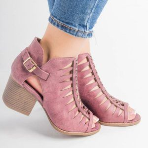 Peep Toe Caged Bootie (Rose Taupe)
